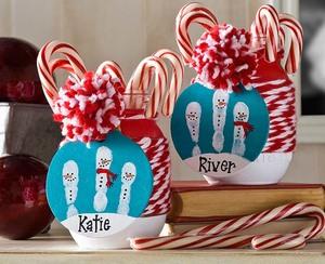 Christmas Mason Jar with Handprint Snowman Tags