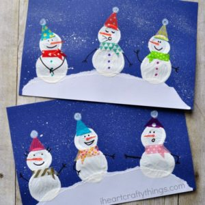Winter Snowman Bottle Cap Print Craft