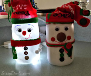 Cute Snowman Mason Jar Light