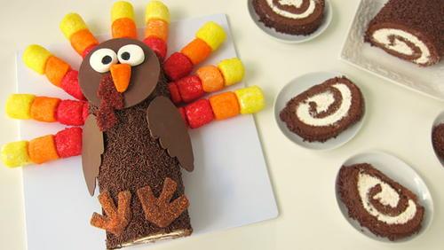 Turkey Cake Roll Thanksgiving Dessert