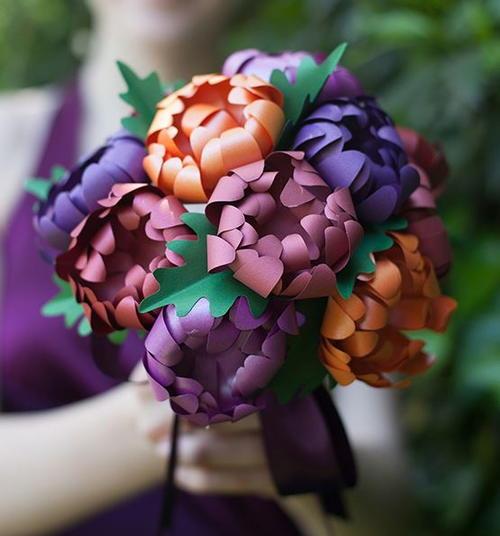 Paper Mums Wedding Bouquet