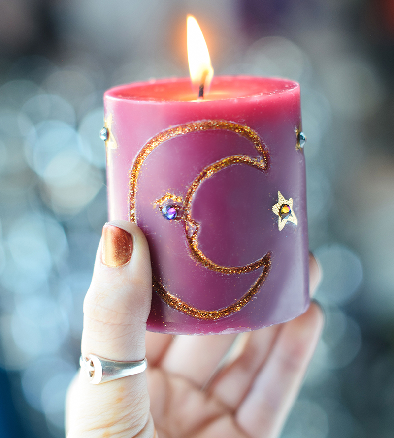 Diy carved glitter candles craft paper scissors
