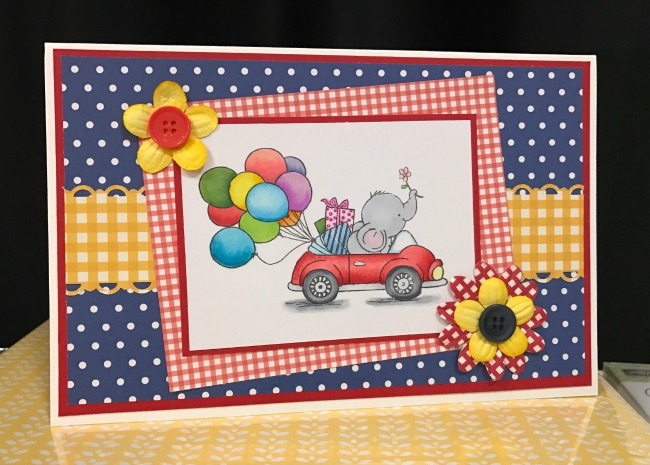 This Birthday Card has a sweet adorable elephant driving a car full of presents and balloons. This handmade greeting card will surely wish someone a very happy birthday!