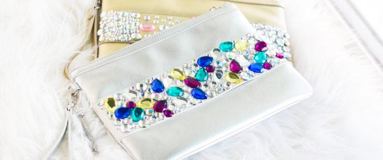 DIY Crystal Embellished Clutches