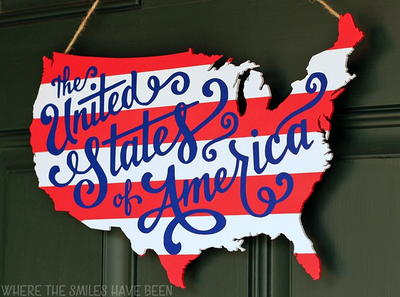 Patriotic USA Map Craft