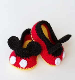 Mickey-Inspired Crochet Baby Booties