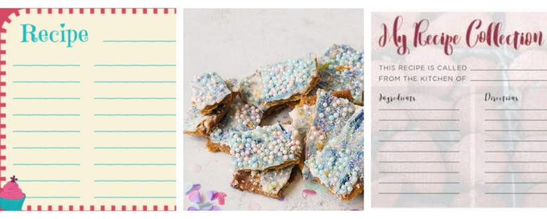 10 Printable Recipe Cards + Free Unicorn Crack Recipe